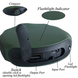 new product compass travel charger power bank with flashlight