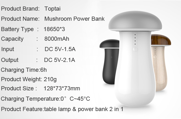 new products for 2016 mushrooms power bank 7800mah—TOPTAI 28