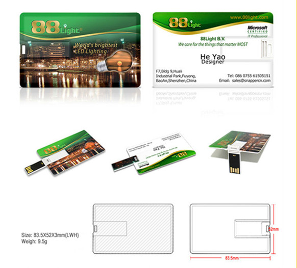 customized pen drive credit card USB memory sticks with full color printing