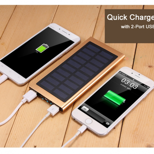 Aluminium Alloy Solar Power Bank Mini Portable Solar Charger USB 20000mah