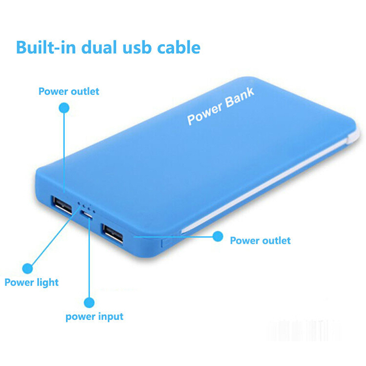 Ultra-slim Portable Backup External Battery Charger Power Bank With Built-in Micro-USB Cable