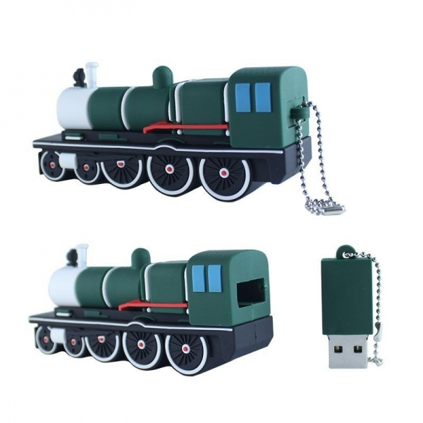 16GB USB 2.0 Flash Drive Cartoon Green Train Shape Pendrive Memory Stick Thumb Drives