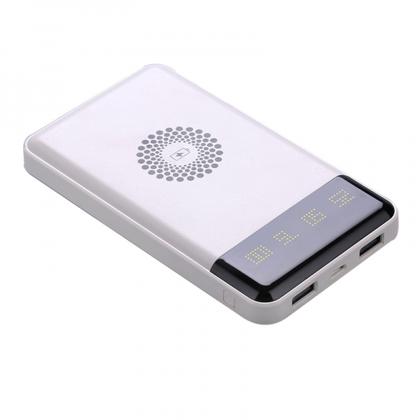 6000mah Qi Wireless Charger LED Display Power Bank for smartphone